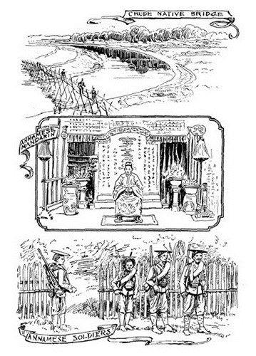 Từ trên xuống dưới: Cây cầu thô sơ của dân bản xứ/ Một quan lại An Nam/ Binh lính An Nam.