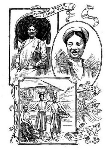 """Từ trên xuống dưới: Phụ nữ Bắc Kỳ đội nón quai thao/ Nụ cười """"răng đen"""" của một phụ nữ/ Một nhóm phụ nữ Bắc Kỳ."""