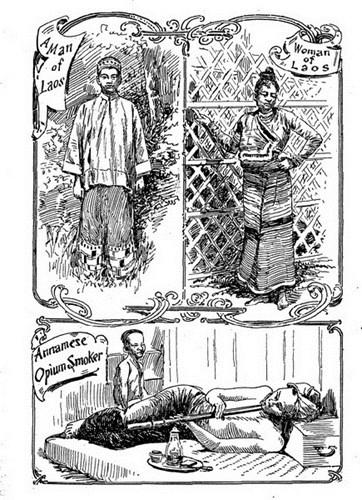 Từ trên xuống dưới: Nam giới Lào/ Phụ nữ Lào/ Đàn ông An Nam hút thuốc phiện.