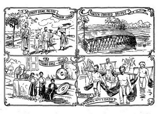 """Từ trái qua phải, từ trên xuống dưới: Đường phố Hội An/ Cầu lợp mái rơm/ Thiếu nữ Hà Nội/ """"Cu li"""" An Nam gánh hàng hóa qua một vùng lầy lội."""