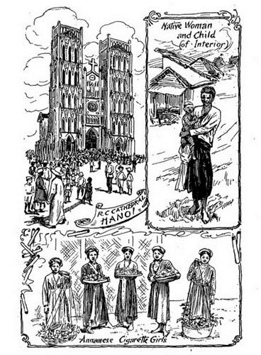 Từ trái qua phải, từ trên xuống dưới: Nhà thờ Lớn Hà Nội/ Người phụ nữ bản địa và đứa con/ Những cô gái bán thuốc lá An Nam.