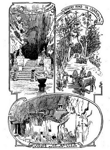 Từ trái qua phải, từ trên xuống dưới: Lối vào hang động ở Ngũ Hành Sơn (Đà Nẵng)/ Đường quê Campuchia/ Bên trong hang động Ngũ Hành Sơn.