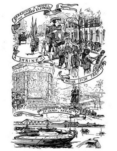 Từ trên xuống dưới: Mô hình voi được rước trong một buỗi lễ/ Một điện thờ/ Bẫy cá của người bản xứ/ Cầu Long Biên trên sông Hồng, Hà Nội.