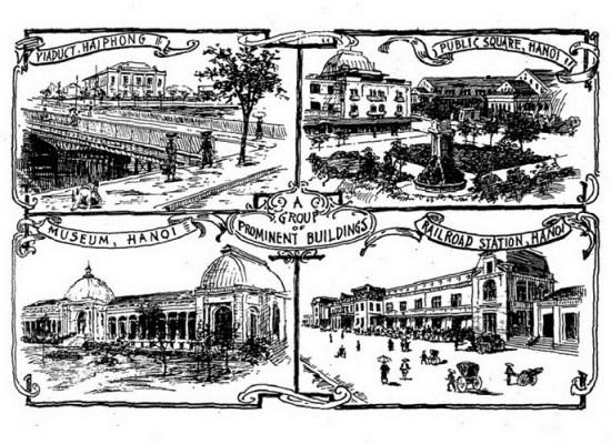 Từ trái qua phải, từ trên xuống dưới: Cầu đường sắt ở Hải Phòng/ Quảng trường vườn hoa Con Cóc ở Hà Nội/ Nhà Đấu Xảo Hà Nội/ Ga Hà Nội.