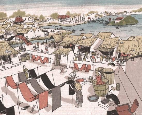 Nhuộm lụa ở phố Cầu Gỗ, thế kỷ XVII. Tranh phục dựng của họa sĩ Nguyễn Thành Phong.