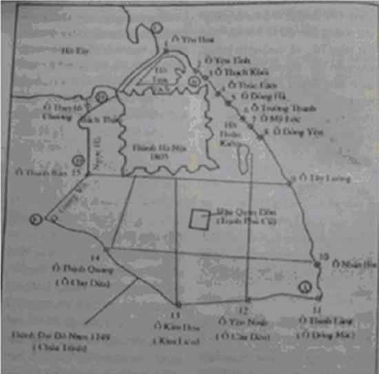 Lược đồ vị trí các cửa ô ở Hà Nội.