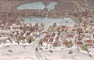 Sông Hồng, hồ Hoàn Kiếm và hồ Thái Cực. Tranh phục dựng của họa sĩ Nguyễn Thành Phong