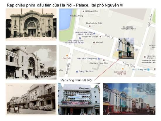 """Tại Hotel Grand Café đã có những buổi chiếu bóng đầu tiên rồi dần dần mới ra rạp chuyên cinéma.Bộ phim đầu tiên có tên là """"Thần Cọp"""" và được trình chiếu vào 8/1920.Tại phố Nguyễn Xí, có một cái cổng nhỏ đi vào một rạp chiếu phim lấy tên là Palace"""