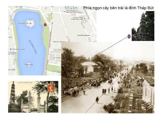 Hồ Hoàn Kiếm-Phía ngọn cây bên trái là đỉnh Tháp Bút, Tháp Bút và cổng đền cách đây trăm năm, đến giờ vẫn thế, còn cái cổng được dựng sau thời Nguyễn Văn Siêu. Chỉ có cây gạo bên phải là đã chết mà thôi.