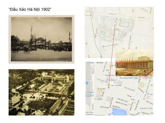 Toà nhà do kiến trúc sư Bussy thiết kế . Còn cuộc Đấu xảo năm 1902 được khánh thành vào ngày 16-11-1902. Toà nhà này sau đó được chuyển giao để thành lập một bảo tàng kinh tế đầu tiên và lớn nhất Đông Dương (Bảo tàng mang tên Maurice Long) toạ lạc ở không gian nay là Cung Văn hoá Lao Động Hà Nội nằm trên đường Trần Hưng Đạo và kề nhà Ga Hà Nội. Toà kiến trúc đã biến mất sau trận ném bom của máy bay Đồng Minh (Mỹ) vào thời kỳ phát xít Nhật đang chiếm đóng nước ta trong thời Đê nhị Thế chiến. Hai bức tượng đồng là phần duy nhất không bị bom đạn huỷ hoại.
