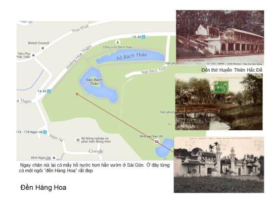"""Không gian này bao lấy môt gò núi đất nhỏ mà dân vẫn quen gọi là Núi Nùng, nhưng tên dân gian của nó là Núi Sưa vì trên đó mọc nhiều loại cây này. Trên lưng núi, lại có đền thờ Huyền Thiên Hắc Đế, tương truyền là người giúp nhà Lý đánh giặc phương Nam, nên được phong làm thành hoàng của mấy làng trong khu vực. Ngay chân núi lại có mấy hồ nước hơn hẳn vườn ở Sài Gòn. Ở đây từng có một ngôi """"đền Hàng Hoa"""" rất đẹp"""