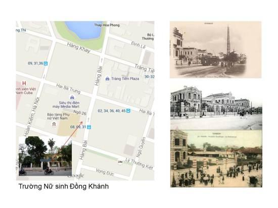 Năm 1918, Trường nữ Sư phạm Hà Nội được thành lập, lúc đầu học ở Hàng Vôi sau chuyển ra Lò Đúc. Năm 1925, trường đổi thành Nữ Trung học Hà Nội (Collège des Jeunes Filles) ở phố Félix Faure (nay là Bộ Tư pháp ở phố Trần Phú). Địa điểm này bị Tây lấy làm Trường Nữ Trung học Pháp, đổi lại cho xây Trường Nữ Trung học Việt Nam ở phố Hàng Bài.Nay là trường THCS Trưng Vương