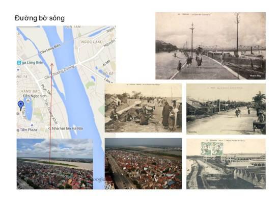"""Những nhịp cầu rất đặc trưng in trên nền trời giúp chúng ta dễ dàng định vị được con đường được chụp trên tấm ảnh này. Người Pháp gọi chung con đường chạy dọc bờ sông Hồng này là """"Quai de Commerce"""" (Kè Thương mại). Hãy để ý lúc này chưa có đê dọc Sông Hồng"""