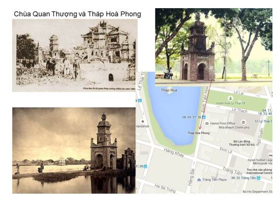 """Mô tả của André Masson trong sách """"Hà Nội giai đoạn 1873 – 1888"""" viết: """"Ở phía Đông Nam hồ, nay là Sở Bưu điện, sừng sững ngôi chùa đặc biệt nhất trong các chùa Hà Nội."""