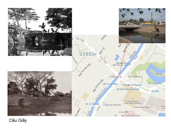 Ở cửa phía Tây của Thành Thăng Long xưa – đoạn đi về phía Sơn Tây – có một cửa ô tên gọi là Tây Dương. Phía ngoài cửa ô ấy có một nhánh nhỏ của sông Tô Lịch. Tại đây có chiếc cầu gạch bắc qua sông.