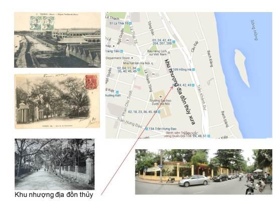 """Trước năm 1888, người Pháp chỉ được lưu trú trong khu vực xưa kia là nơi đồn trú của một đơn vị quân đội của triều đình kiểm soát sự đi lại trên sông Hồng. Vì thế nơi này có tên gọi là """"Đồn Thuỷ""""."""