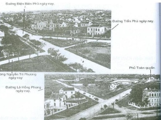 Thực dân Pháp phá hủy thô bạo các di tích Văn hóa và các kiến trúc truyền thống của Hà Nội để xây dựng các khu phố Tây, bức ảnh trên cho thấy thành Hà Nội đã bị phá hủy và con đường mới được hình thành( điện Biên Phủ ngày nay).