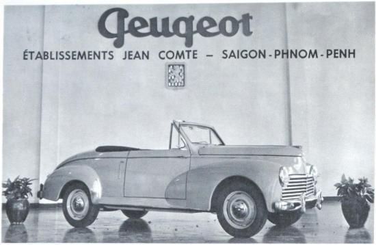 Quảng cáo xe Peugoet 203 mui trần bởi công ty bán xe Jean Comte tại Sài Gòn và Nam Vang