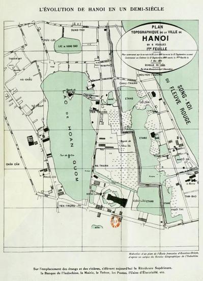000.Bản đồ khu vực trung tâm Hà Nội năm 1884
