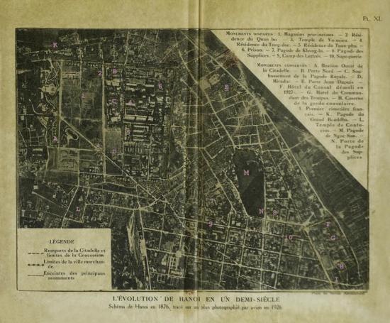002.Bản đồ Hà Nội năm 1876 dựa trên một bản đồ không ảnh chụp năm 1826