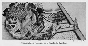 003.Tranh vẽ toàn cảnh chùa Khổ Hình – tên người Pháp gọi chùa Báo Ân bên bờ hồ Hoàn Kiếm thời kỳ 1873 – 1888