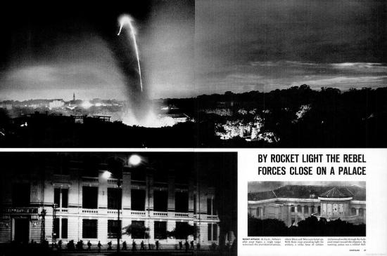 Trong ánh sáng của hỏa tiễn, quân đảo chánh tiến tới dinh tổng thống.