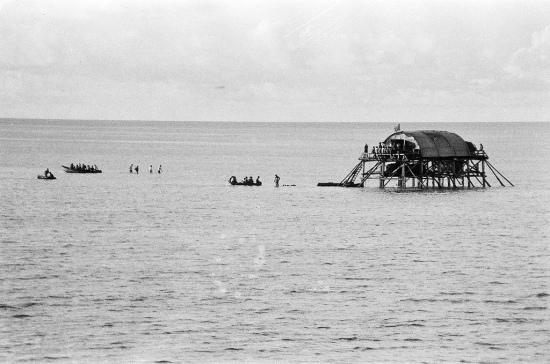 Lúc bác Thái ra thì cái nhà Cao cẳng thế hệ đầu đã được thay thế bằng một nhà cao cẳng thế hệ hai vững chắc hơn. Thêm vào đó là một chiếc pông tông được neo bên cạnh. Ảnh trên chụp từ pông tông Đá Đông, tháng 5 năm 1988 Đá Đông, một đảo chìm rộng giữ vị trí quan trọng trong quần đảo, trước đó Sở chỉ huy Quân chủng HQ đã lệnh cho tàu 661 đưa lực lượng ra cắm cờ, canh gác; đồng thời lệnh cho tàu 605 chở vật liệu, bộ đội chốt giữ đảo của Lữ đoàn 146 và lực lượng công binh của Trung đoàn 83 ra xây dựng, bảo vệ. Trong bối cảnh hải quân nước ngoài có thể khiêu khích ngăn chặn, song các tàu của ta đã bình tĩnh vượt qua sóng gió đưa bộ đội và vật liệu đến đảo an toàn. Nhờ sự kết hợp chặt chẽ giữa các lực lượng tàu, đảo, công binh, công việc triển khai xây dựng nhà, công sự đã hoàn thành theo đúng kế hoạch, bảo đảm yêu cầu kỹ thuật. Ta triển khai lực lượng bảo vệ đảo. Các tàu 605, 604 tiếp tục ở lại làm nhiệm vụ bảo vệ vòng ngoài Đá Đông. Hai tàu này ngày 13/4/1988 đã được điều đến khu vực Gạc ma và bị TQ bắn chìm ở đây.