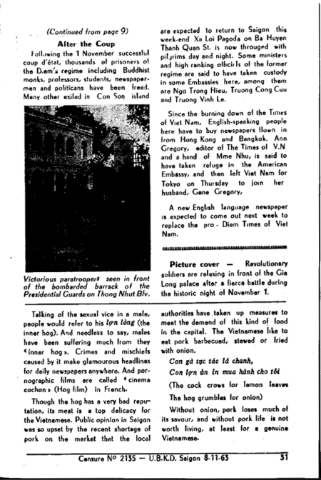 Saigon Round Up (08 November 1963) William Colby Collection - Vietnam Center and Archive