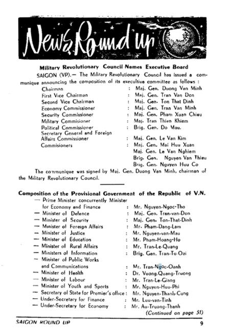 Danh sách Ban Lãnh đạo Hội đồng Quân nhân Cách mạng và Thành phần Chánh phủ Cách mạng lâm thời VNCH source: William Colby Collection - Vietnam Center and Archive