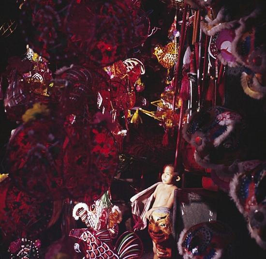Một bé trai trong cửa hàng bán đồ trang trí ngày lễ của người Hoa. Nơi đây bán các loại đèn lồng, đầu lân, vòng hoa và cả các loại đồ chơi trẻ em bằng giấy.