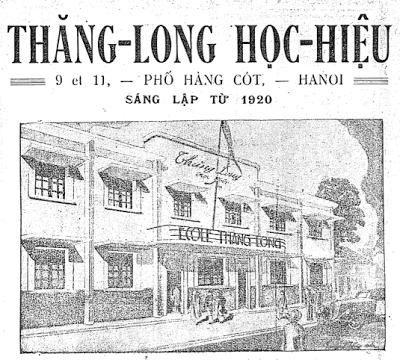 Thăng Long Học Hiệu 9 et 11, Phố Hàng Cót, Hanoi Sáng lập từ 1920  École Thăng Long  nguồn: Phong Hóa 154 (20 septembre 1935), tr. 15.  Trong quảng cáo ở trên có giáo viên Đặng Thái Mai và Hoàng Minh Giám rồi, nhưng chưa có Võ Nguyên Giáp.