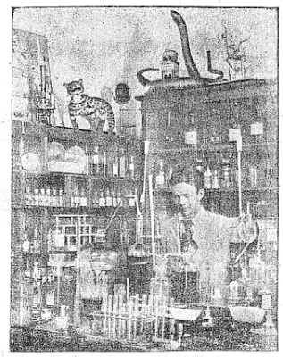 Phòng thí nghiệm hóa học ở Thăng Long Học Hiệu.  Trời ơi, nhìn con rắn trên tủ.