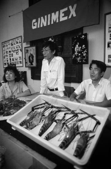 Ông Nguyễn Văn Hàm (đứng giữa) là giám đốc của GINIMEX, một công ty chuyên rằng xuất khẩu thủy hải sản, cà phê và hương liệu cho Hongkong, Singapore, Nhật Bản và Thái Lan. Các cổ đông của công ty được trả lãi suất 10% mỗi tháng trên vốn đầu tư của mình, trong đó có ông Bùi Hữu Nhân (ngồi bên phải), người từng là một cán bộ cao cấp trong Chính phủ cách mạng lâm thời ở miền Nam Việt Nam.