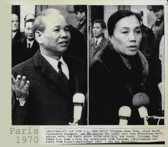 Bà Nguyễn Thị Bình và ông Xuân Thủy tại Paris năm 1970.