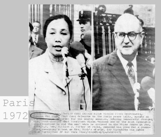 """Tại buổi đàm phá diễn ra ngày 17/8/1972, Bộ trưởng ngoại giao Nguyễn Thị Bình đã lên án Nixon """"bỏ lỡ cơ hội quý giá nhất để kết thúc cuộc chiến tranh""""."""