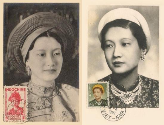 Chân dung Nam Phương Hoàng hậu trên 2 con tem phát hànhđầu thập niên 1950.