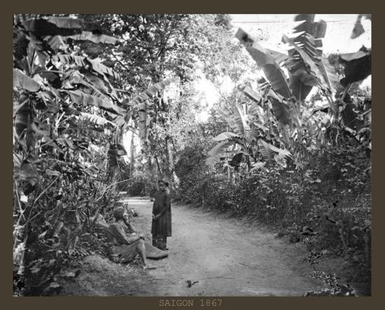 Một con đường đất ở xóm làng ngoại vi Sài Gòn.