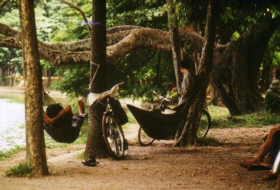 Giấc ngủ trưa bên bờ hồ Hoàn Kiếm.