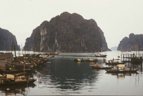 Xóm chài bên vịnh Hạ Long.