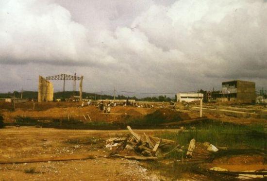 Công trường nhà máy cán thép Gia Sàng, 1973.