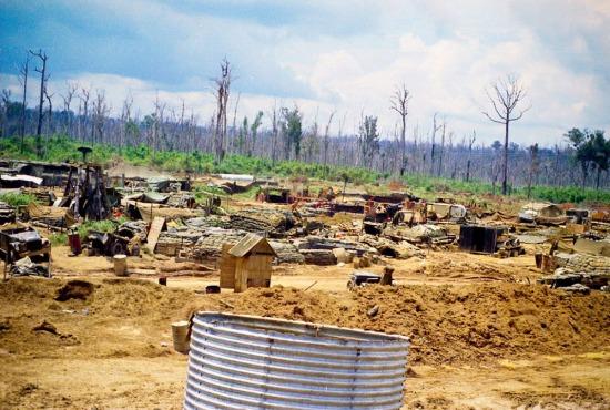 Căn cứ Mỹ được xây dựng bên một khu rừng đã bị phun thuốc làm trụi lá để tránh sự xâm nhập của du kích Giải phóng.