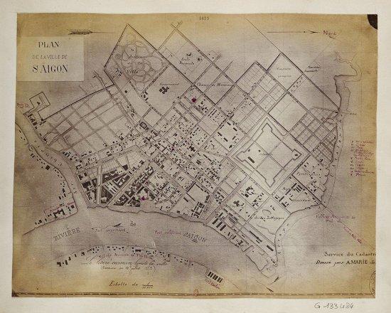 Bản đồ Sài Gòn năm 1873 được in trong album ảnh xuất bản năm 1880 của Emile Gsell.