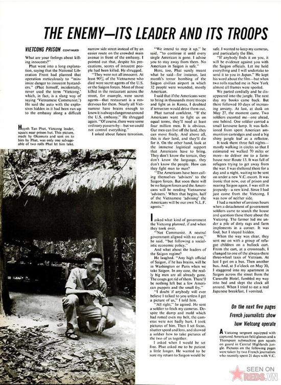 Trong bài này, ông Huỳnh Tấn Phát - Chủ tịch Ủy ban Mặt trận Dân tộc Giải phóng khu Sài Gòn - Gia Định trả lời câu hỏi về các cuộc tấn công nhằm vào người Mỹ của biệt động Sài Gòn và những dự định của quân đội Giải phóng khi chiếm được Sài Gòn. Bài viết cũng nói về việc nhà báo Nhật đã trở về Sài Gòn từ căn cứ của quân đội  Giải phóng như thế nào.