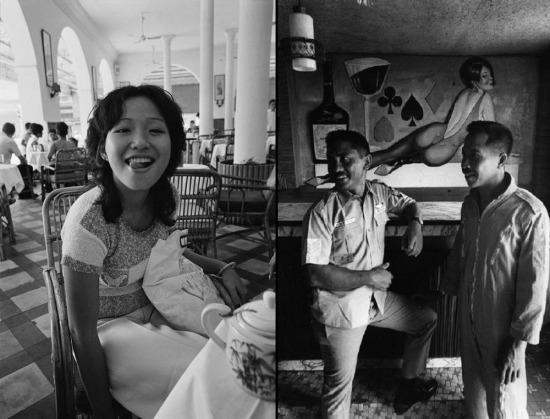 Cô gái trẻ người Việt đùa giỡn với lính Mỹ tại khách sạn Continental ở Sài Gòn (ảnh trái) và các phi công trực thăng Mỹ tại một câu lạc bộ dành cho sĩ quan ở Kontum (ảnh phải), 1973.