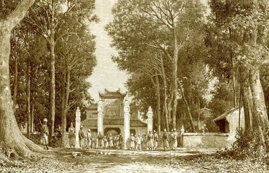 Quân Pháp đóng trại tại một ngôi chùa lớn.