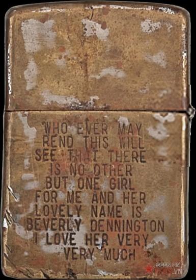 """Bức tâm thư ngắn ngủi (và sai chính tả) thể hiện tình yêu của người lính dành cho một cô gái: """"Bất cứ ai đọc những điều này sẽ biết rằng không có một cô gái nào khác dành cho tôi trừ một cô gái có cái tên đáng yêu là Beverly Dennington. Tôi yêu cô ấy rất nhiều""""."""