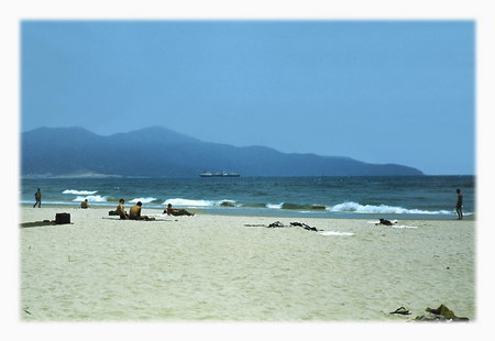 Chú thích của Steve Brown trên Flickr cá nhân của mình về bức ảnh: Bãi biển Đà Nẵng. Những bãi cát ở đây trắng mịn như đường kính. Núi Khỉ ở phía xa.