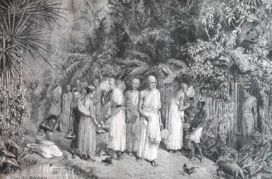 Các nhà sư khất thực ở Bassac, Campuchia.