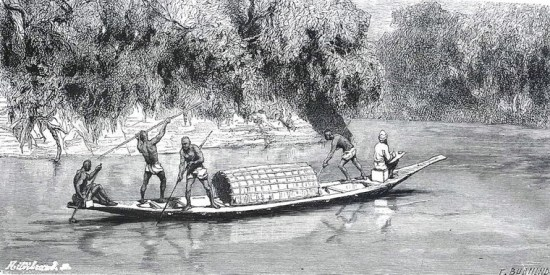 Đâm cá trên sông.