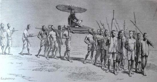 Đám rước một công tử ở Bassac đến lễ hội té nước truyền thống của người Campuchia.